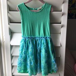 GORGEOUS mini Boden 5-6 dress w sheer embroidery